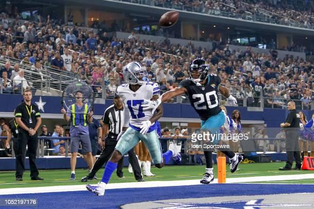 Dallas Cowboys wide receiver Allen Hurns is covered by Jacksonville Jaguars cornerback Jalen Ramsey during the game between the Jacksonville Jaguars...
