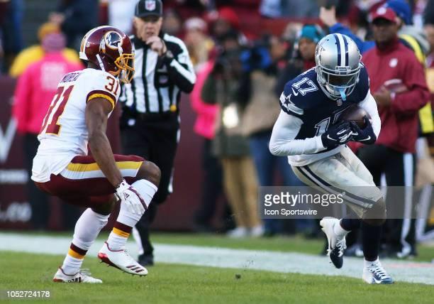 Dallas Cowboys wide receiver Allen Hurns runs by Washington Redskins cornerback Fabian Moreau during a match between the Washington Redskins and...