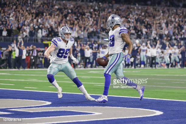 Dallas Cowboys wide receiver Amari Cooper catches the winning touchdown and celebrates with Dallas Cowboys tight end Blake Jarwin during the game...