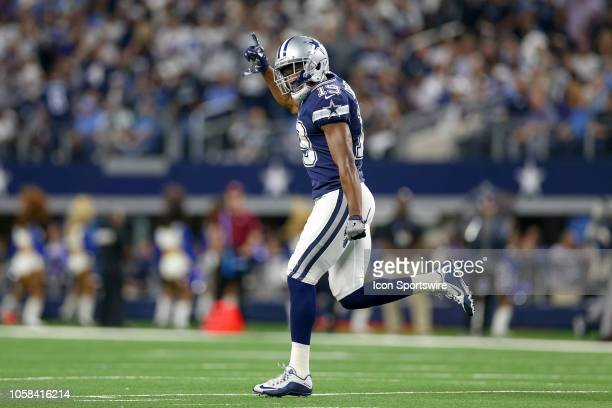 Dallas Cowboys wide receiver Amari Cooper celebrates his first touchdown reception as a Cowboy during the game between the Tennessee Titans and...