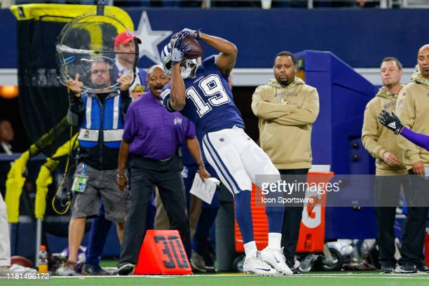 Dallas Cowboys Wide Receiver Amari Cooper just gets his toes in bounds for a first down catch during the game between the Minnesota Vikings and...