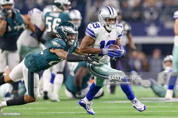 Dallas Cowboys Wide Receiver Amari Cooper makes a reception with Philadelphia Eagles Cornerback Sidney Jones defending during the game between the...