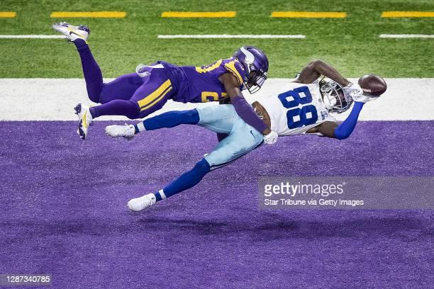 Dallas Cowboys wide receiver CeeDee Lamb caught a second quarter touchdown pass over Minnesota Vikings cornerback Jeff Gladney . The Minnesota...