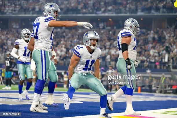 Dallas Cowboys wide receiver Cole Beasley celebrates his touchdown reception during the game between the Jacksonville Jaguars and Dallas Cowboys on...