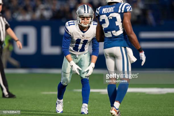 Dallas Cowboys wide receiver Cole Beasley lines up against Indianapolis Colts cornerback Kenny Moore II before the snap during the NFL game between...