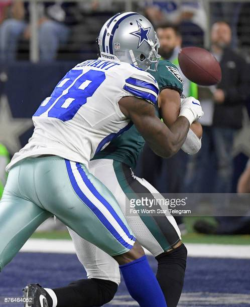 Dallas Cowboys wide receiver Dez Bryant can't make a catch in the end zone with Philadelphia Eagles cornerback Patrick Robinson defending on Sunday...