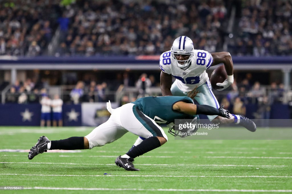 Dallas Cowboys Wide Receiver Dez Bryant Is Hit By