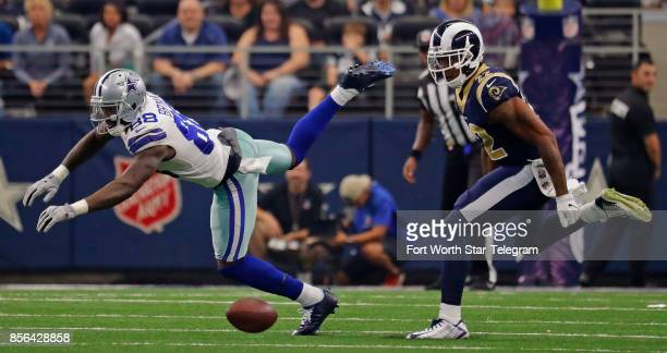 Dallas Cowboys wide receiver Dez Bryant leaps for a offtarget pass from Dallas Cowboys quarterback Dak Prescott Los Angeles Rams cornerback Trumaine...