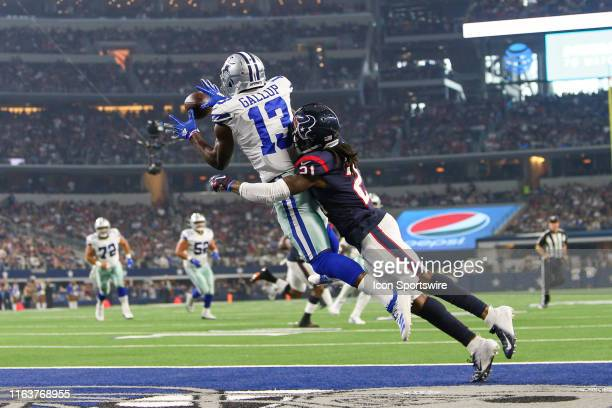 Dallas Cowboys wide receiver Michael Gallup catches a touchdown pass during the preseason game between the Houston Texans and Dallas Cowboys on...