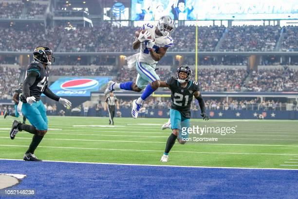 Dallas Cowboys wide receiver Michael Gallup catches what appears to be a touchdown reception but is called out of bounds during the game between the...