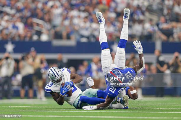 Dallas Cowboys Wide Receiver Michael Gallup makes a catch with New York Giants Safety Jabrill Peppers defending during the game between the New York...