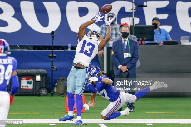 Dallas Cowboys Wide Receiver Michael Gallup makes a dramatic catch to setup the game winning field goal during the NFL game between the New York...
