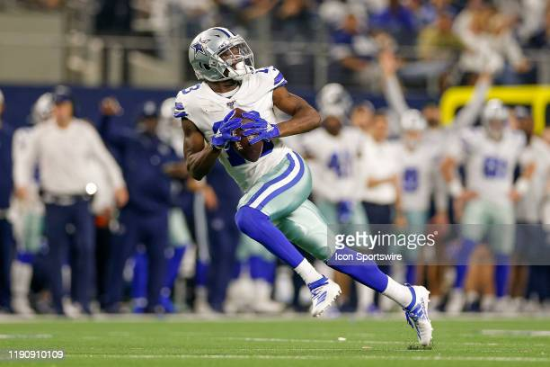 Dallas Cowboys Wide Receiver Michael Gallup makes a long touchdown reception during the NFC East game between the Dallas Cowboys and Washington...