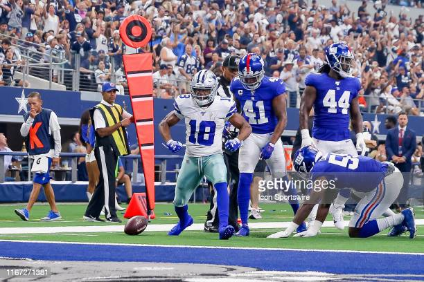 Dallas Cowboys Wide Receiver Randall Cobb celebrates after making a first down deep in the red zone during the game between the New York Giants and...