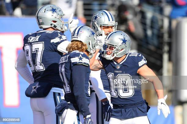 Dallas Cowboys wide receiver Ryan Switzer and teammates on the field prior to the National Football League game between the New York Giants and the...