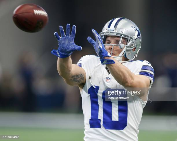Dallas Cowboys wide receiver Ryan Switzer catches a pass in warmups during the NFL football game between the Dallas Cowboys and the Kansas City...