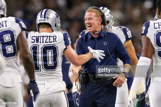Dallas Cowboys wide receiver Ryan Switzer celebrates with head coach Jason Garrett after running back a punt for a touchdown during the Thursday...