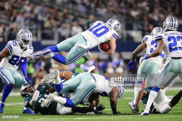 Dallas Cowboys wide receiver Ryan Switzer gets spun in the air on a punt return during the game between the Dallas Cowboys and the Philadelphia...