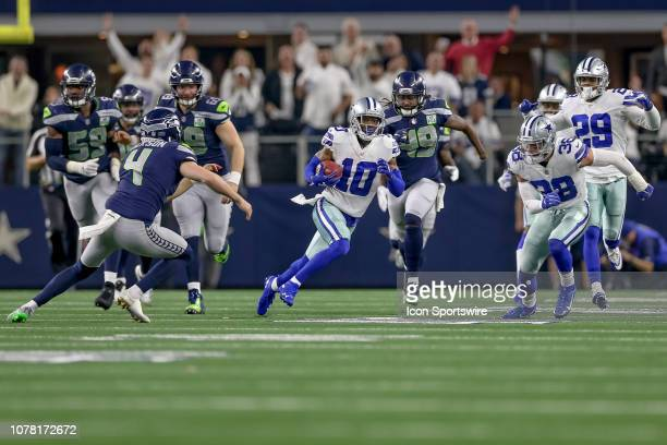 Dallas Cowboys wide receiver Tavon Austin breaks through for a 51 yard kick return during the NFC wildcard playoff game between the Seattle Seahawks...