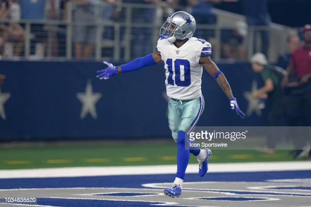 Dallas Cowboys wide receiver Tavon Austin celebrates after making a 60 yard touchdown reception during the game between the New York Giants and...