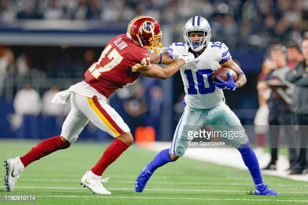Dallas Cowboys Wide Receiver Tavon Austin fights off a tackle by Washington Redskins Cornerback Aaron Colvin during the NFC East game between the...