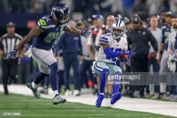 Dallas Cowboys wide receiver Tavon Austin is forced out of bounds after a 51 yard return by Seattle Seahawks tight end Ed Dickson during the NFC...