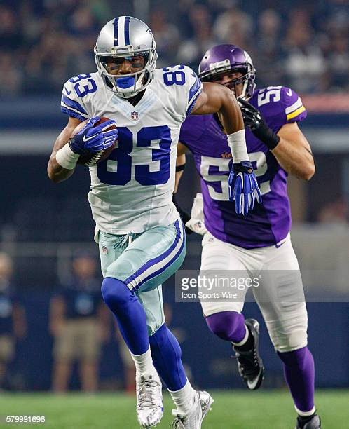 Dallas Cowboys wide receiver Terrance Williams makes a 60 yard touchdown reception during the NFL preseason game between the Minnesota Vikings and...