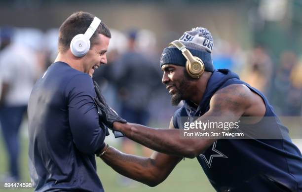 Dallas Cowboys wide receivers Ryan Switzer and Dez Bryant seem to work out a celebration routine before a game against the Oakland Raiders on Sunday...