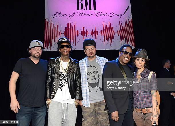 Dallas Davidson Wiz Khalifa Alex Da Kid Charlie Wilson and Linda Perry at BMI's How I Wrote That Song panel at House of Blues on January 25 2014 in...
