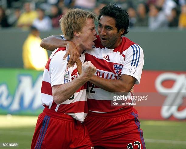 Dallas Dax McCarty and Arturo Alvarez celebrate McCarty's goal scored against the Los Angeles Galaxy during today's match at the Home Depot Center on...