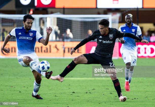 Dallas defender Abel Aguilar takes the ball off DC United midfielder Yamil Asad during a MLS match between DC United and FC Dallas on October 13 at...
