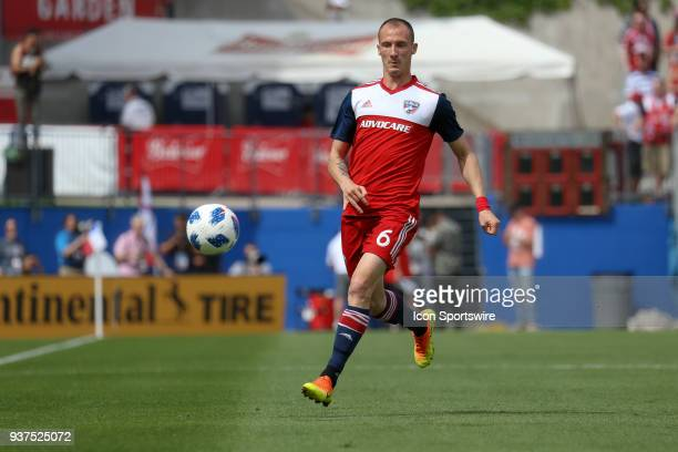 Dallas defender Anton Nedyalkov chases a loose ball during the soccer match between the Portland Timbers and FC Dallas on March 24 2018 at Toyota...