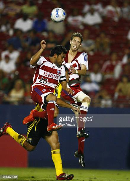 Dallas defender Clarence Goodson and FC Dallas forward Carlos Ruiz during the match between FC Dallas and the Columbus Crew on August 11 2007 in...