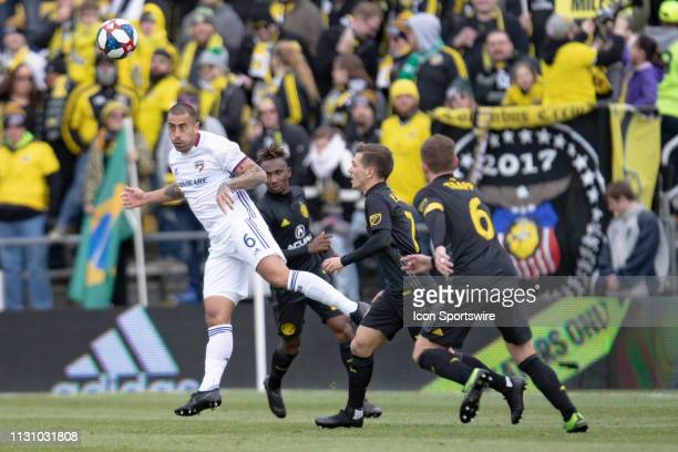 Dallas defender Marquinhos Pedroso heads the ball in the MLS regular season game between the Columbus Crew SC and the FC Dallas on March 16 2019 at...