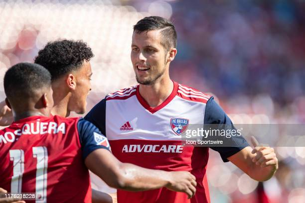 Dallas defender Matt Hedges and teammates including FC Dallas midfielder Santiago Mosquera celebrate a goal during the MLS soccer game between FC...