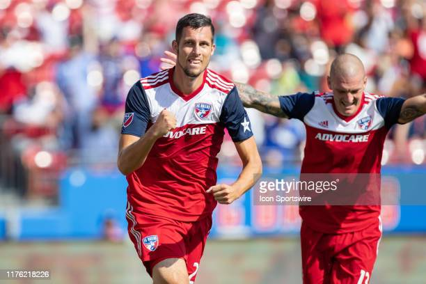 Dallas defender Matt Hedges celebrates after scoring a goal during the MLS soccer game between FC Dallas and Sporting Kansas City on October 06 at...