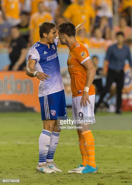 Dallas defender Maynor Figueroa and Houston Dynamo forward Erick Torres get into an argument during the MLS match between Dallas FC and Houston...