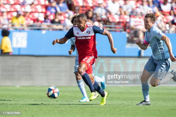 Dallas defender Reggie Cannon dribbles up field during the MLS soccer game between FC Dallas and Sporting Kansas City on October 06 at Toyota Stadium...