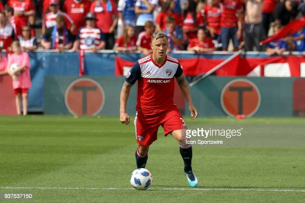 Dallas defender Reto Ziegler dribbles with the ball during the soccer match between the Portland Timbers and FC Dallas on March 24 2018 at Toyota...