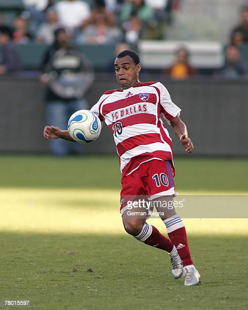 Dallas Denilson in action against the Los Angeles Galaxy defensive line during today's match at the Home Depot Center on September 23 2007 in Carson...