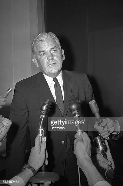 Dallas District Attorney Henry Wade informs reporters of the evidence collected from the Dallas police against John F Kennedy's assassin Lee Harvey...