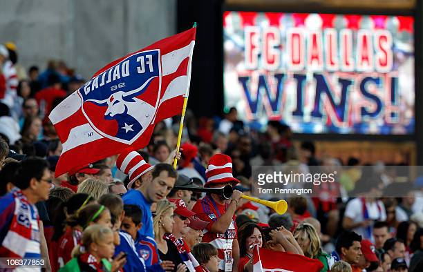 Dallas fans celebrate after FC Dallas beat Real Salt Lake 2-1 at Pizza Hut Park on October 30, 2010 in Frisco, Texas.