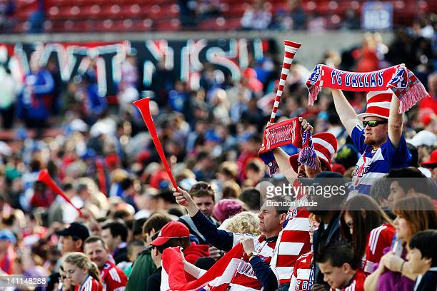 Dallas fans celebrate their teams 2-1 victory over the New York Red Bulls during the second half of a soccer game at FC Dallas Stadium on March 11,...