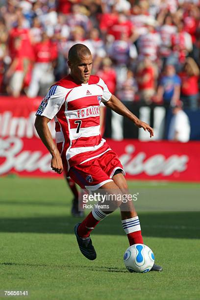 Dallas forward Abe Thompson takes control of the ball during the FC Dallas against the Chivas USA match on July 4, 2007 at Pizza Hut Park in Frisco,...