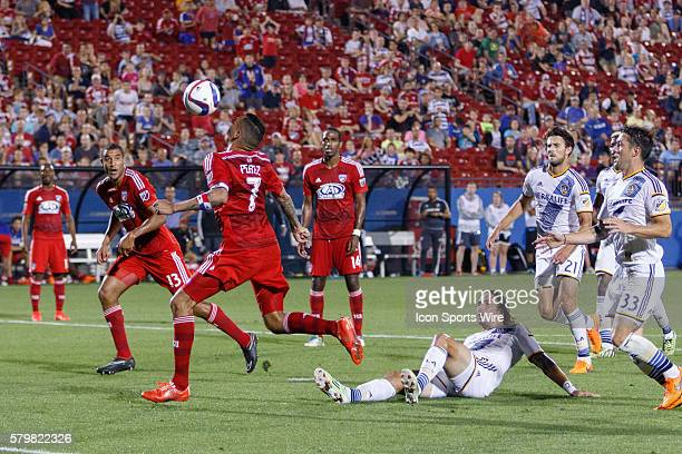 Dallas forward Blas Perez brings down a ball in the box and scores during the MLS match between the LA Galaxy and FC Dallas played at Toyota Stadium...