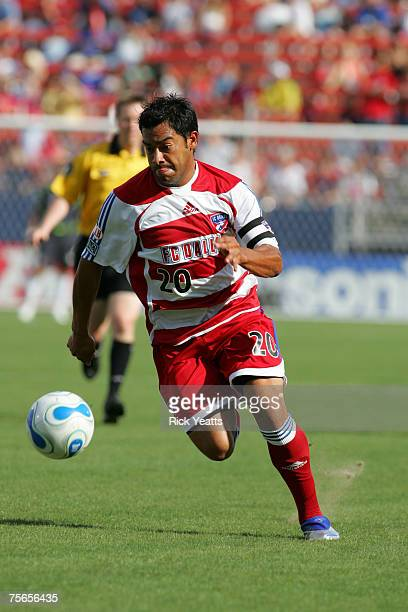 FC Dallas forward Carlos Ruiz takes control of the ball during the FC Dallas against the Chivas USA match on July 4 2007 at Pizza Hut Park in Frisco...