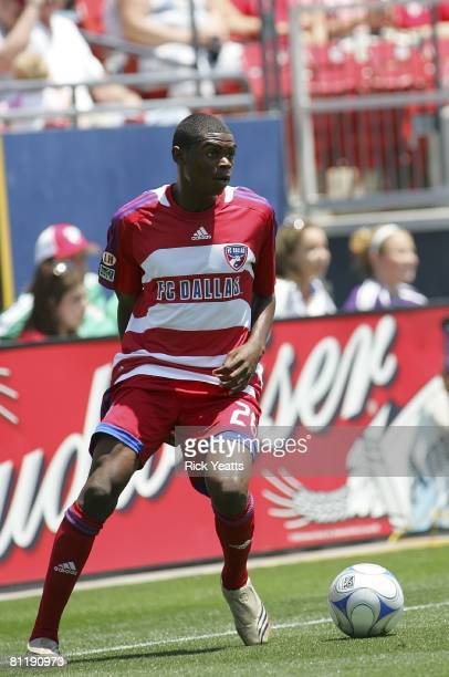 Dallas forward Dominic Oduro sets up to pass the ball to the offense during the match against the LA Galaxy on May 18, 2008 at Pizza Hut Park in...