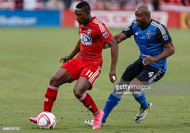 Dallas forward Fabian Castillo and San Jose Earthquakes defender Marvell Wynne battle for a ball during the MLS match between the San Jose...
