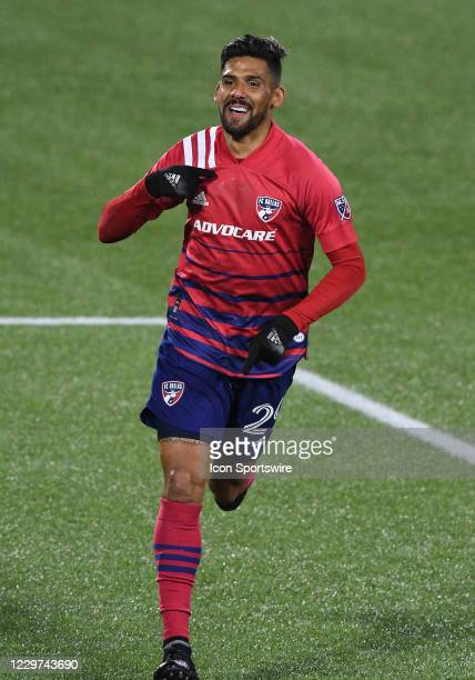 Dallas Forward Franco Jara reacts to scoring a goal that would be called back because of an offside violation during the MLS playoff match between FC...