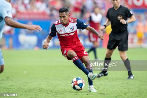 Dallas forward Jesus Ferreira dribbles the ball during the MLS soccer game between FC Dallas and Sporting Kansas City on October 06 at Toyota Stadium...